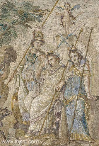 Athena, Aphrodite and Hera | Greco-Roman mosaic from Antioch C2nd A.D. | Musée du Louvre, Paris