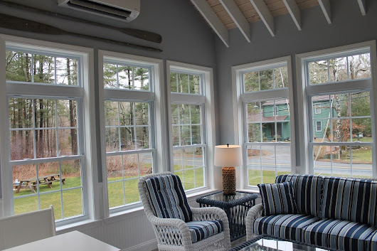 Sunroom with Exposed Rafter Ceiling, Andersen Windows in Mattapoisett, MA | Contractor Cape Cod, MA & RI