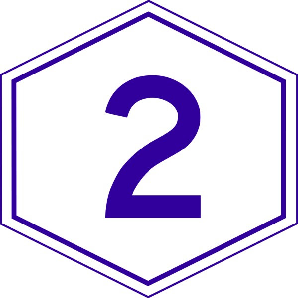 This picture shows a blue number 2 inside a hexagon.