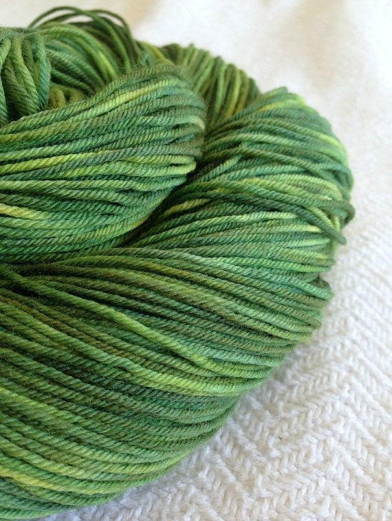 Hand Dyed Field of Asparagus Sock Yarn Hand Painted sockyarn 463 yards hand dyed fingering weight Spring Green olive