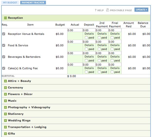 event budget template wedding planner