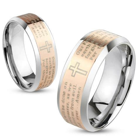 Lord's Prayer Cross Rose Gold IP Stainless Steel Wedding