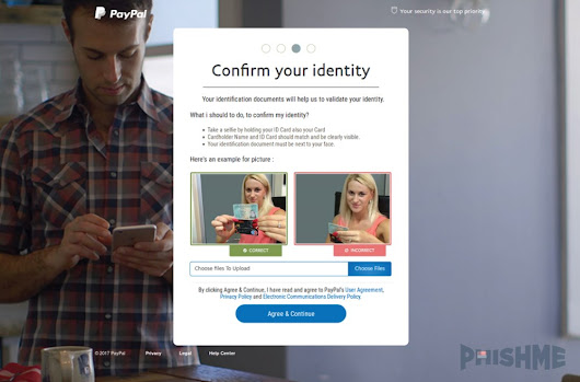 PayPal Phishing Site Asks Victims to Submit a Selfie Holding Their ID Card
