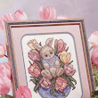 Free Cross Stitch Pattern - Bunny in Tulips