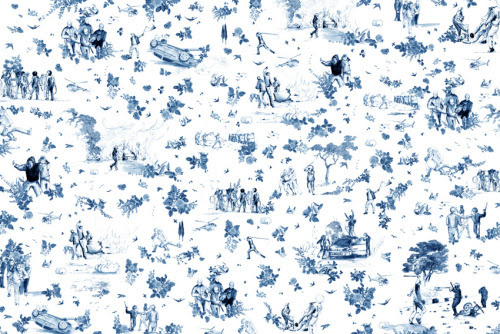 Toile de Jouy n°2    Drawing, numeric and vinylic wallpaper  print variable sizes2012