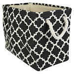 DII Rectangle Modern Polyester Lattice Small Storage Bin in Black - CAMZ36069