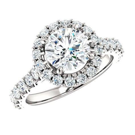2.06 Carat TW Diamond & Halo Engagement Ring 18k White