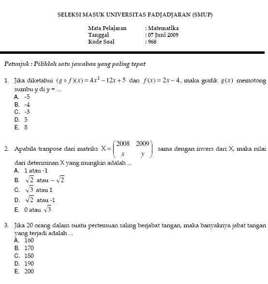 Download Soal Tes Masuk Universitas Ilmusosial Id