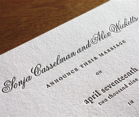 Letterpress Wedding Invitation Font ChoicesFonts for your