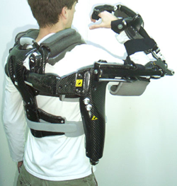 Photo of a man with a robotic exoskeleton
