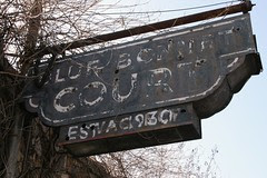 looking up at blue bonnet court sign
