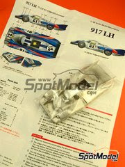 Maqueta de coche 1/43 Model Factory Hiro - Porsche 917 LH Martini Nº 21 - Vick Elford + Gerard Larrouse - 24 Horas de Le Mans 1971 - kit multimaterial image