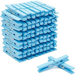"""100 Count Blue Wooden Clothespins 4"""" for Laundry, Decorative Photos Clothes Line Wood Clothes Pins for Baby Shower Boys Home Décor Pictures Postcards"""