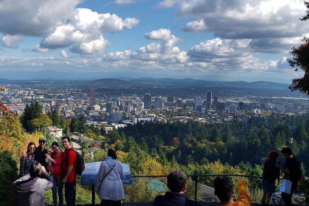 See Portland's skyline from Pittock Mansion