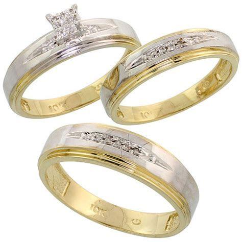 Buy 10k Yellow Gold Diamond Trio Engagement Wedding Ring