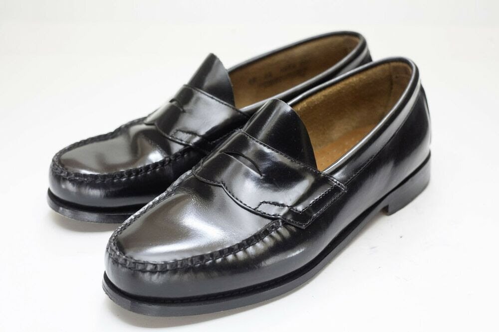 Bass Weejuns 10 Wide Black Penny Loafers Men's | eBay