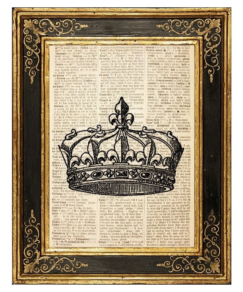 Crown 2 - Vintage Book Page Art Print