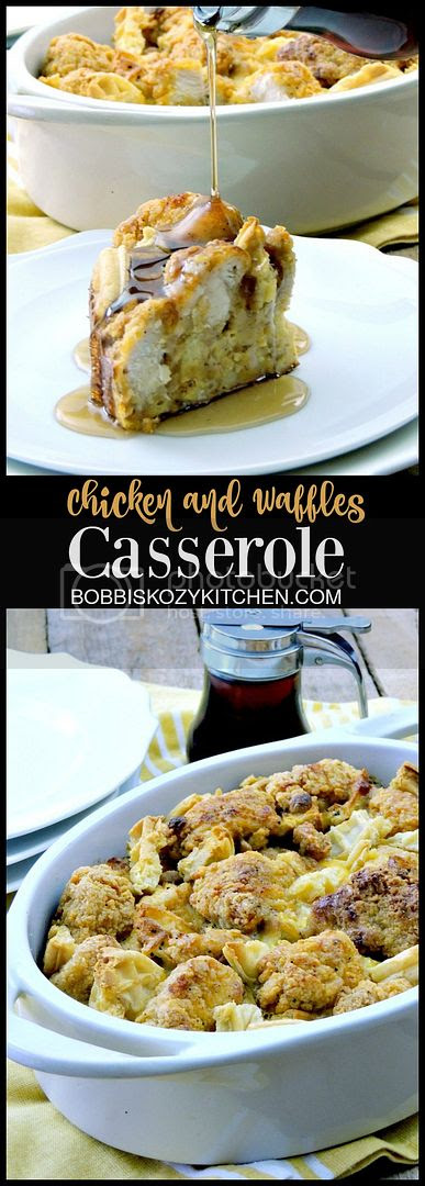 Chicken and Waffles Casserole -  Say goodbye to boring breakfast with this easy, kid friendly, chicken and waffles casserole. From www.bobbiskozykitchen.com