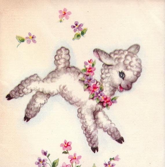 Vintage 1950s Little Easter Lamb Notelet DOLLAR Greetings Card (B64)