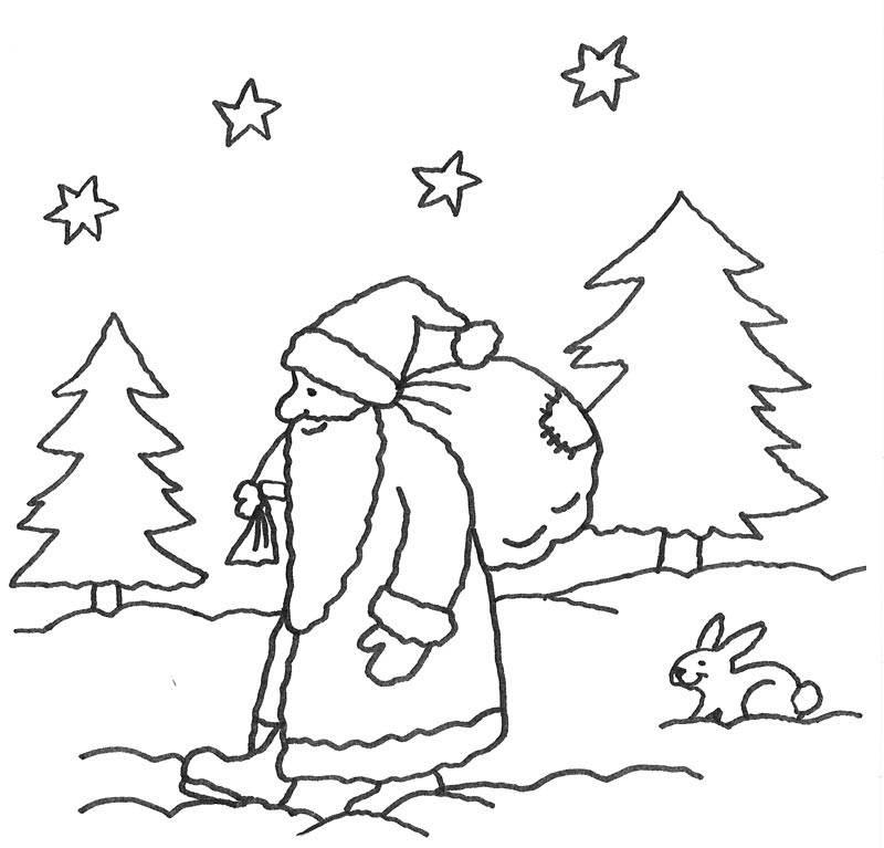 Kostenlose Malvorlage Advent: Nikolaus im Wald zum Ausmalen