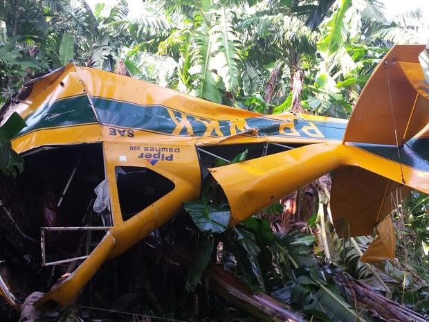 Avião foi encontrado por volta das 8h20 desta quarta-feira (Foto: Corpo de Bombeiros/Divulgação)