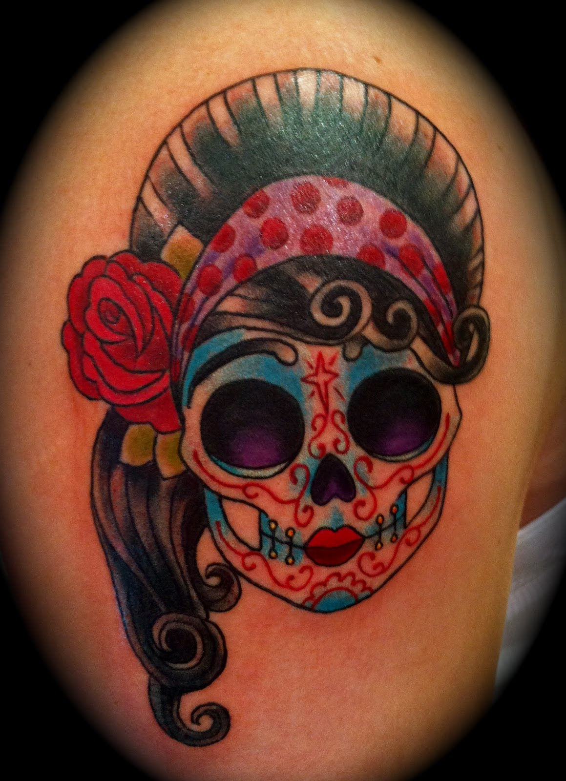 Girly Sugar Skull Tattoo On Sleeve