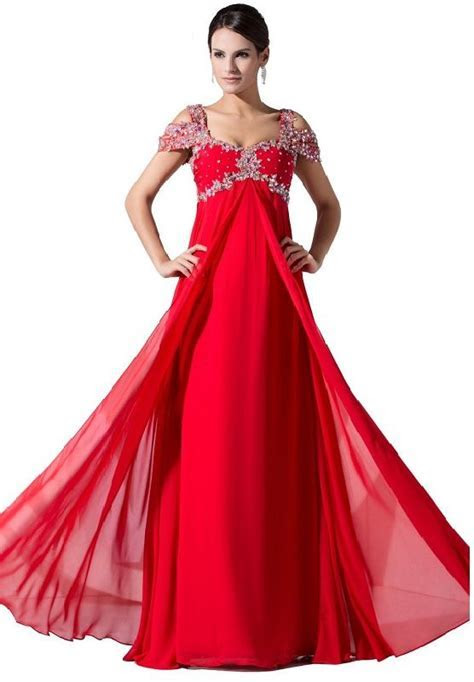 Ball Gown Prom Dresses   Cheap red long formal evening
