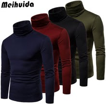 New Streetwear Men's Winter Warm Cotton High Neck Pullover Jumper Sweater