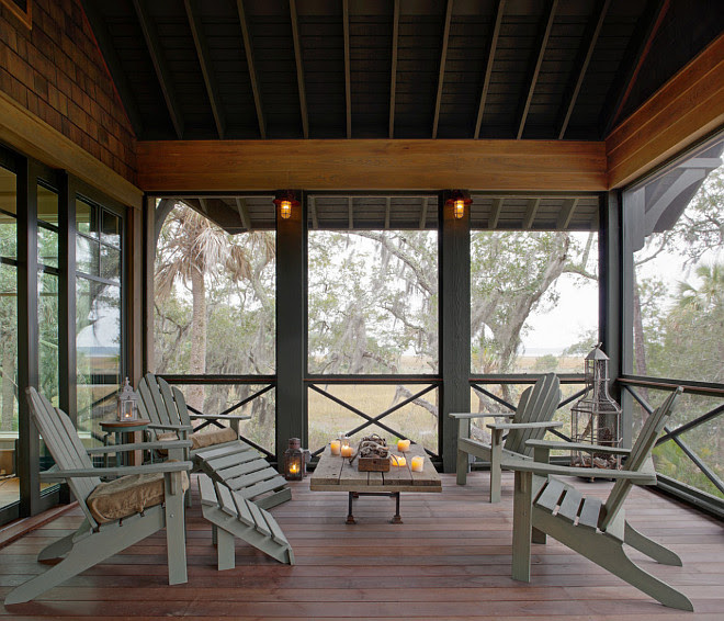 Screened Porch. Rustic Screened Porch. Rustic Screened Porch Design Ideas. Rustic Screened Porch Photos. Rustic Screened Porch Furniture #Rustic #Screened #Porch Wayne Windham Architect, P.A. Interiors by Gregory Vaughan, Kelley Designs, Inc. Photos by Atlantic Archives, Inc.