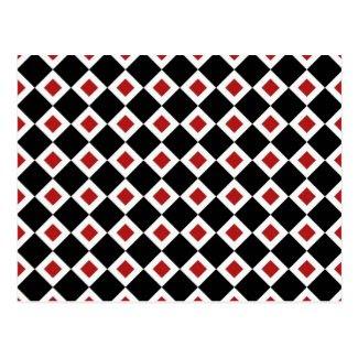 Black, White, Red Diamond Pattern Post Card
