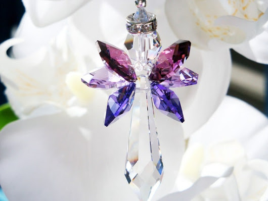 Guardian Angel Rear View Charm Purple Swarovski Crystal Angel