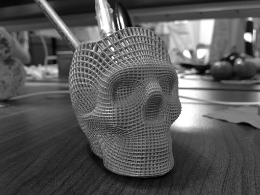 Shared on YouMagine – Wireframe Skull Pencil Holder (For The Love of Dog) by philnelson | Youmagine Blog