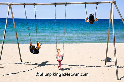 Swinging by Lake Michigan, Charlevoix, Michigan