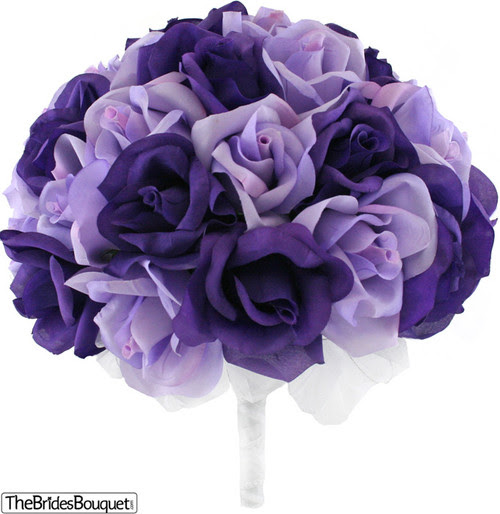 Purple and Levender Silk Rose Hand Tied Bridal Bouquet  36 Roses