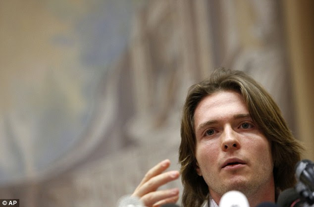 Sollecito during a press conference in Rome. His lawyers are attempting to demonstrate that the evidence used against Knox does not concern him