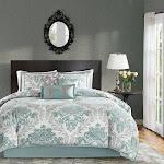 Madison Park Larissa Aqua Printed 7 Piece Comforter Set Queen