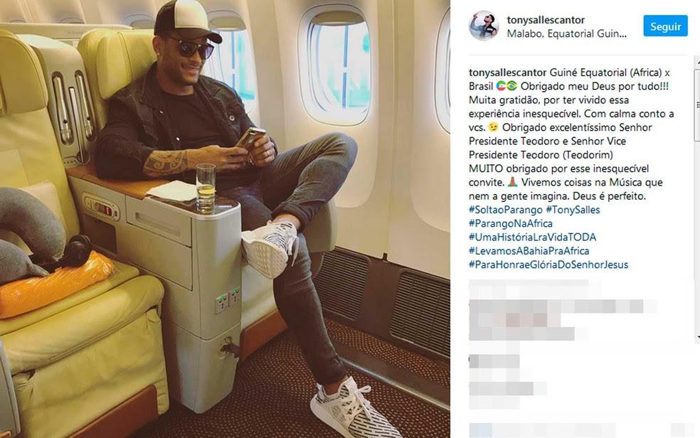 Tony Salles fez postagem nas redes sociais sobre o show na África quando retornava para a Bahia (Foto: Reprodução/Instagram)