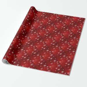 White Snowflakes with Red Background Wrapping Pape Wrapping Paper
