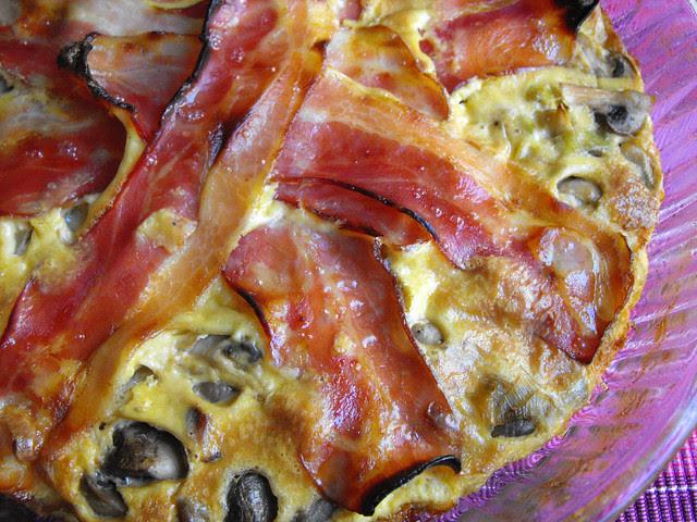 Tarte de cogumelos com bacon