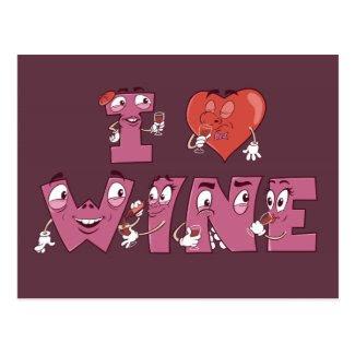 I Love Wine Characters Postcard