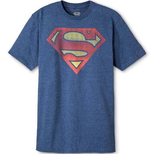 DC Comics Men's Superman Shield T-Shirt - Blue XXL