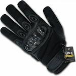 RapDom Carbon Fiber Hard Knuckle Tactical Gloves [Black - L]