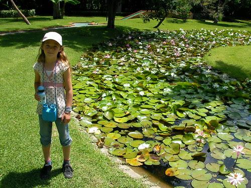 Ariel and the lotus garden at Las Estancas