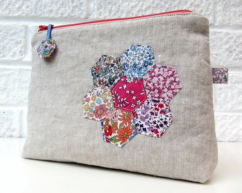 Liberty hexie and linen pouch 1