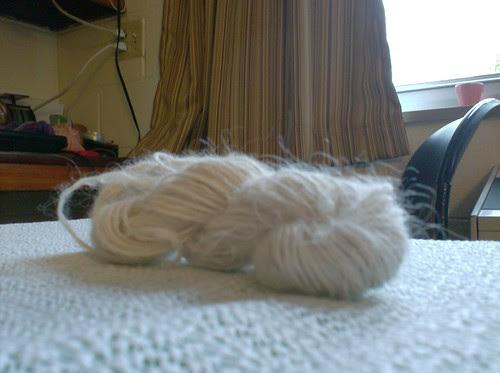 Cream natural alpaca fingering weight handspun yarn