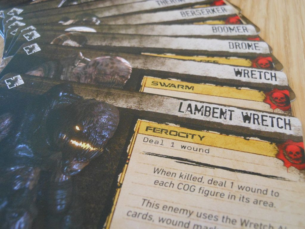 Gears of War enemy cards, depicting evil aliens such as the Lambent Wretch.
