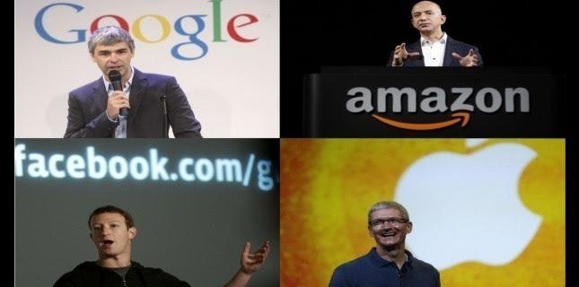 De gauche à droite : Larry Page, fondateur de Google; Jeff Bezos, patron d'Amazon; Mark Zuckerberg, fondateur de Facebook et Tim Cook, PDG d'Apple. (Photos Sipa)