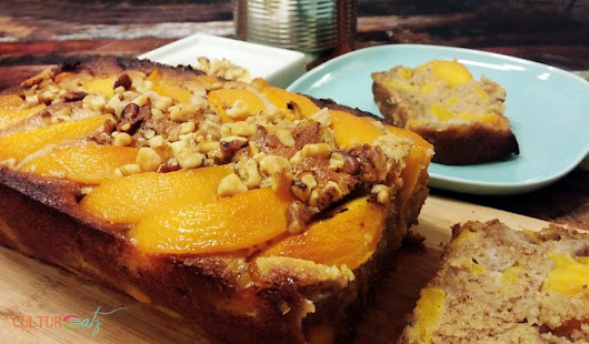 Care for a slice of Peach Walnut Coffee Cake? • CulturEatz