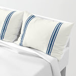 Blue Stripes on Creme background French Grainsack Distressed Country Farmhouse Pillow Sham by ShabbyShopAroundTheCorner - STANDARD SET OF 2