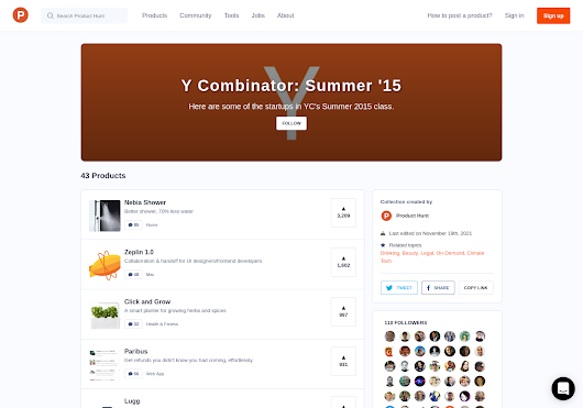 Y Combinator: Summer '15 - Here are some of the startups in YC's Summer 2015 class. by Product Hunt